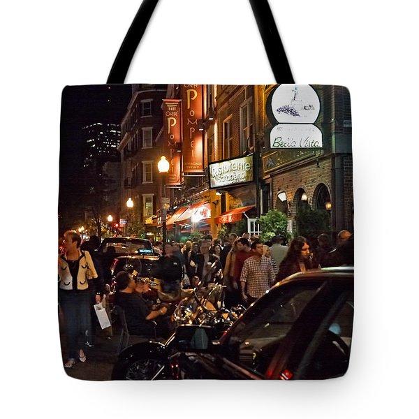 Hanover Street Nights - Boston Tote Bag by Joann Vitali