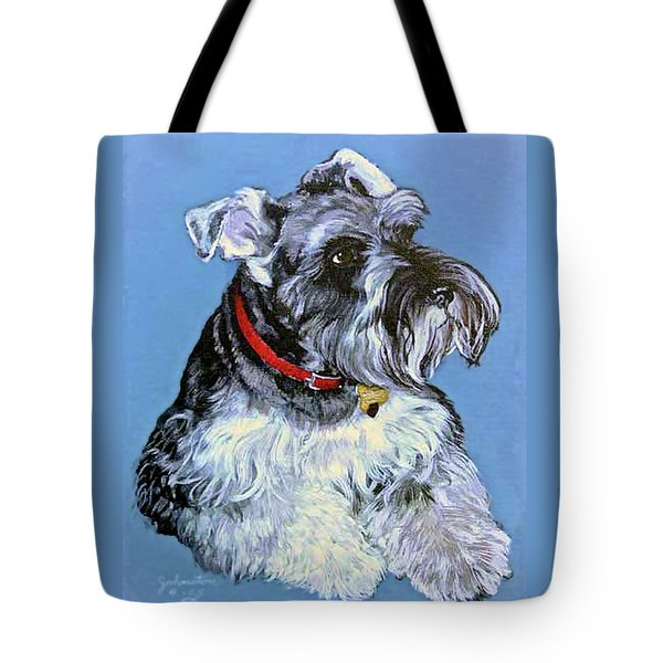 Tote Bag featuring the painting Hans The Schnauzer Original Painting Forsale by Bob and Nadine Johnston