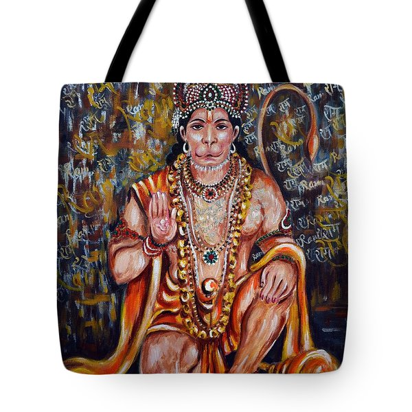 Tote Bag featuring the painting Hanuman by Harsh Malik