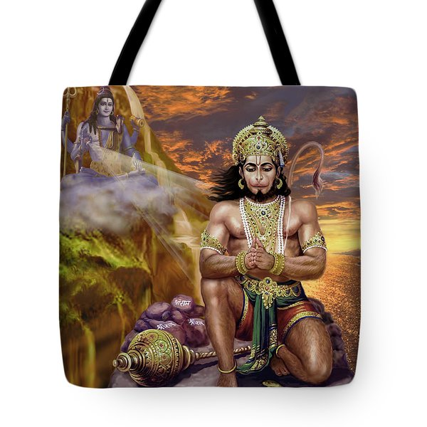 Hanuman Receives Lord Shiva's Blessings Tote Bag