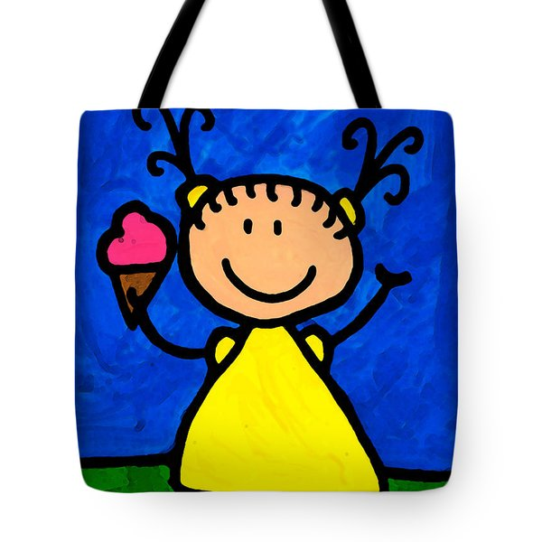 Happi Arte 3 - Little Girl Ice Cream Cone Art Tote Bag by Sharon Cummings