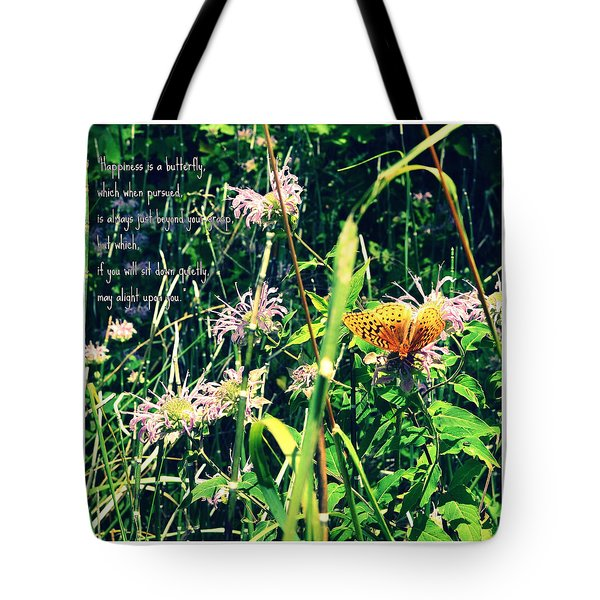 Happiness Is A Butterfly Tote Bag by Poetry and Art