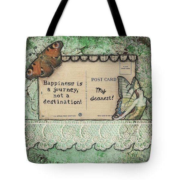 Happiness Is A Journey Inspirational Mixed Media Folk Art Tote Bag by Stanka Vukelic