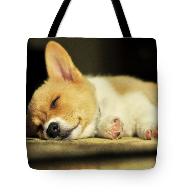 Happiness Is A Warm Corgi Puppy Tote Bag