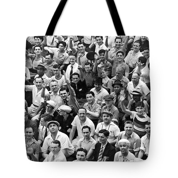 Happy Baseball Fans In The Bleachers At Yankee Stadium. Tote Bag
