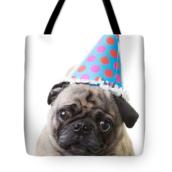 Happy Birthday Pug Card Tote Bag by Edward Fielding