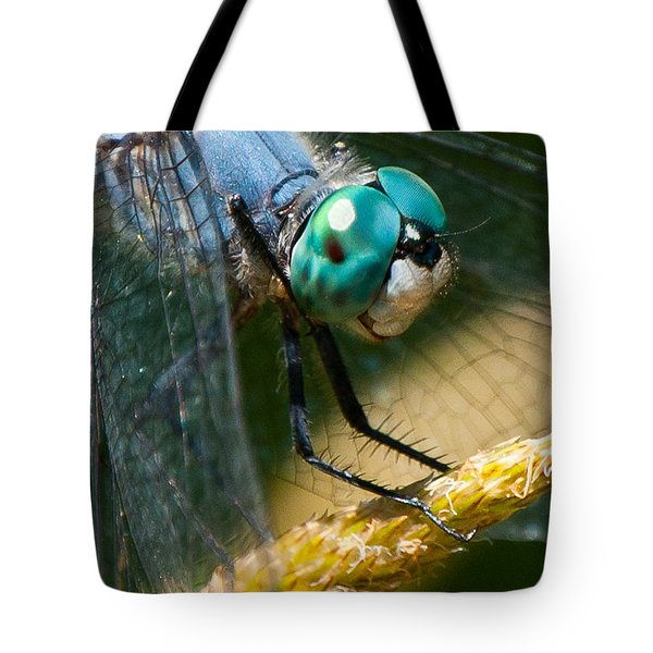 Happy Blue Dragonfly Tote Bag by Janis Knight