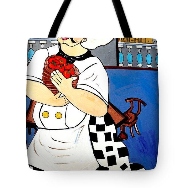Tote Bag featuring the painting Chef  Happy Chef by Nora Shepley