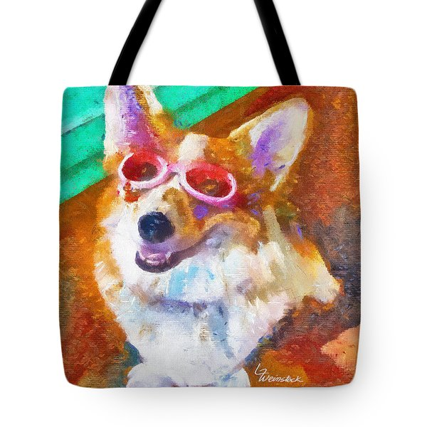 Tote Bag featuring the painting Alameda Happy Little Cancer Survivor  by Linda Weinstock