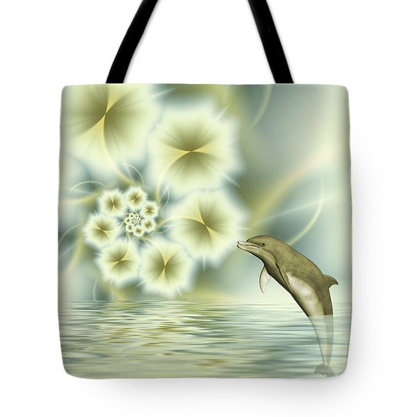Happy Dolphin In A Surreal World Tote Bag