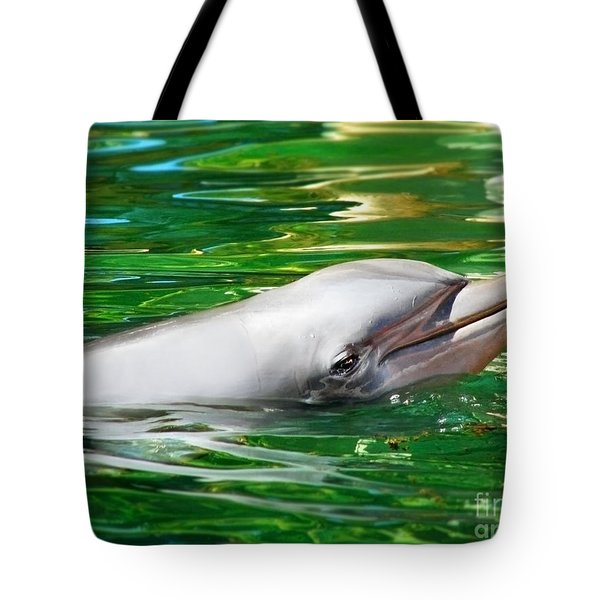 Happy Dolphin Tote Bag by Kristine Merc