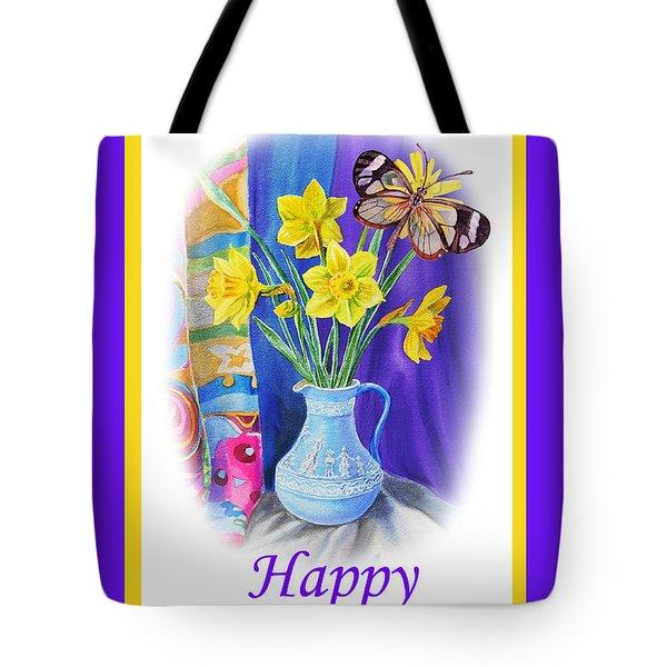 Happy Easter Daffodils Tote Bag by Irina Sztukowski
