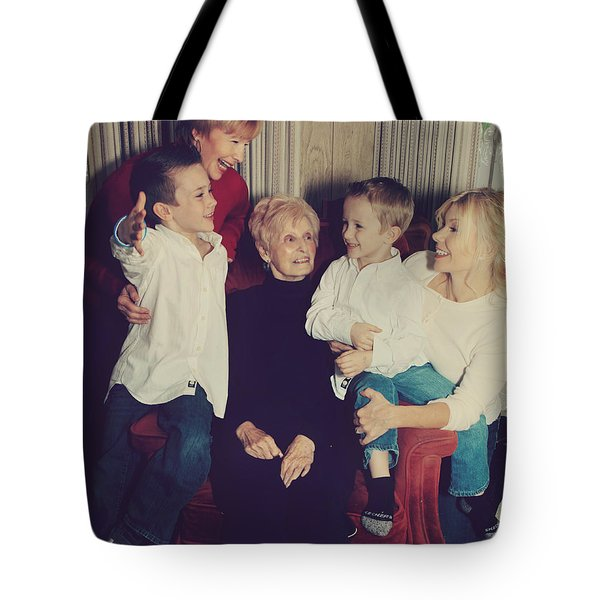 Happy Family Tote Bag by Laurie Search