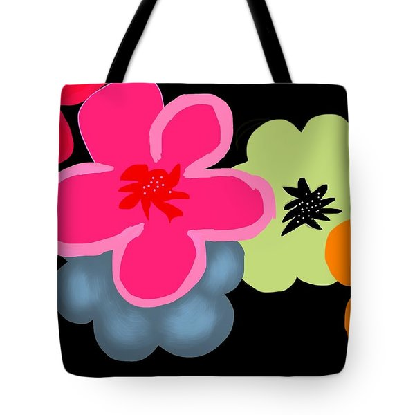 Tote Bag featuring the digital art Happy Flowers Pink by Christine Fournier