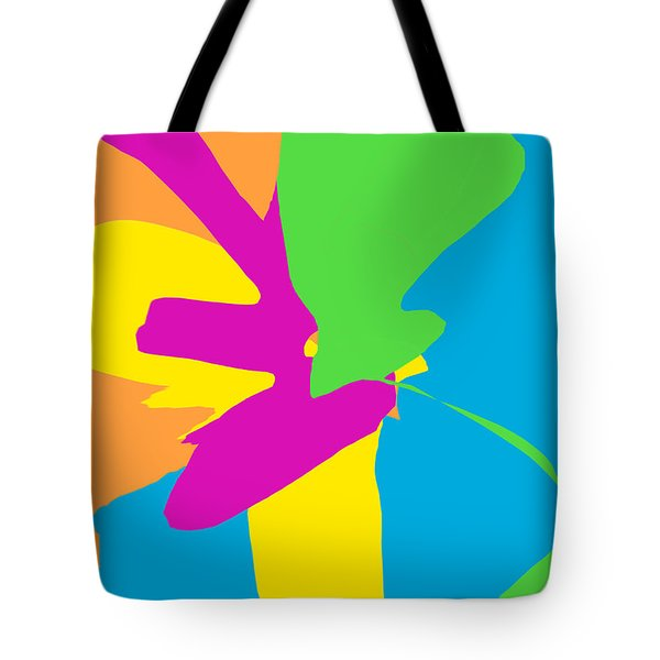 Original Contemporary Abstract Painting Happy Flowers Tote Bag