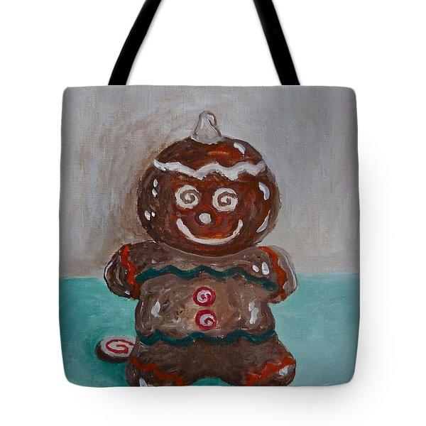 Happy Gingerbread Man Tote Bag by Victoria Lakes