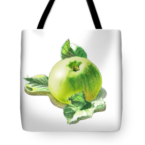 Tote Bag featuring the painting Happy Green Apple by Irina Sztukowski