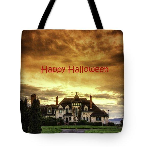 Happy Halloween Fiery Castle Tote Bag by Eti Reid