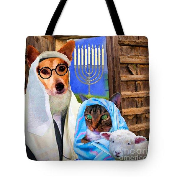 Tote Bag featuring the digital art Happy Hanukkah  - 2 by Kathy Tarochione