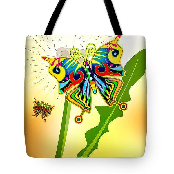 Happy Hippie Butterflies Tote Bag by Bob Orsillo