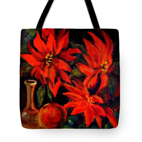 New Orleans Red Poinsettia Oil Painting Tote Bag