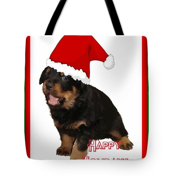 Happy Holidays Rottweiler Christmas Greetings  Tote Bag by Tracey Harrington-Simpson