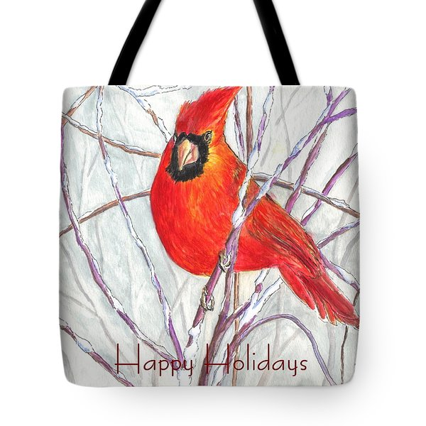 Happy Holidays Snow Cardinal Tote Bag