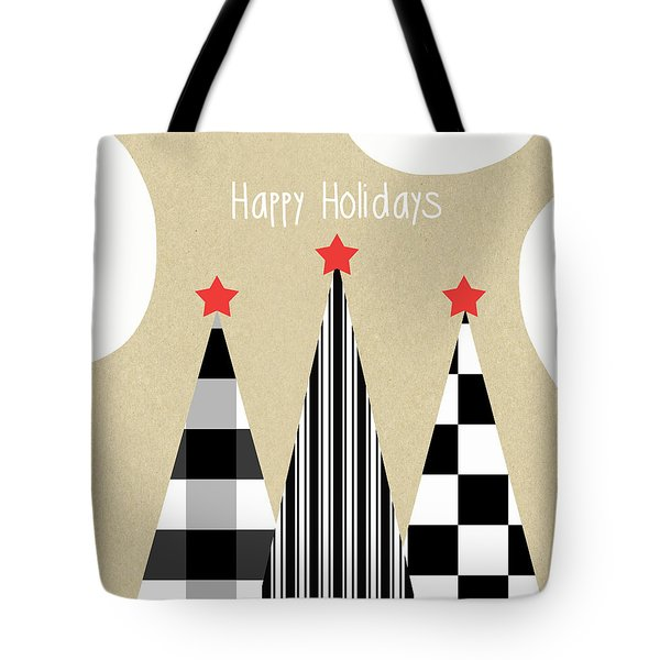 Happy Holidays With Black And White Trees Tote Bag