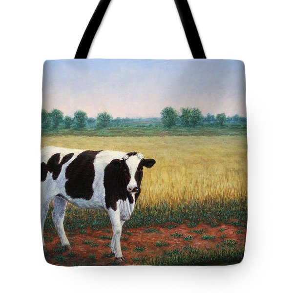 Happy Holstein Tote Bag by James W Johnson