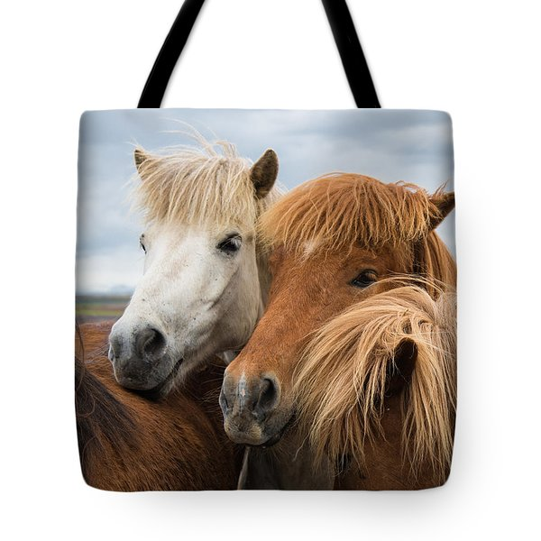 Happy Horse Friends In Iceland Tote Bag