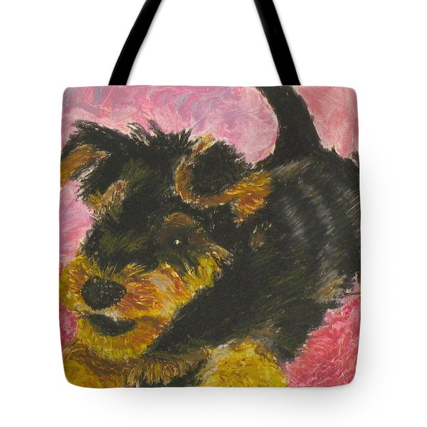 Tote Bag featuring the painting Happy by Jeanne Fischer