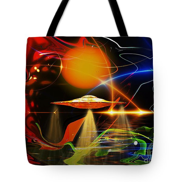 Tote Bag featuring the digital art Happy Landing by Eleni Mac Synodinos
