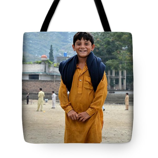 Tote Bag featuring the photograph Happy Laughing Pathan Boy In Swat Valley Pakistan by Imran Ahmed