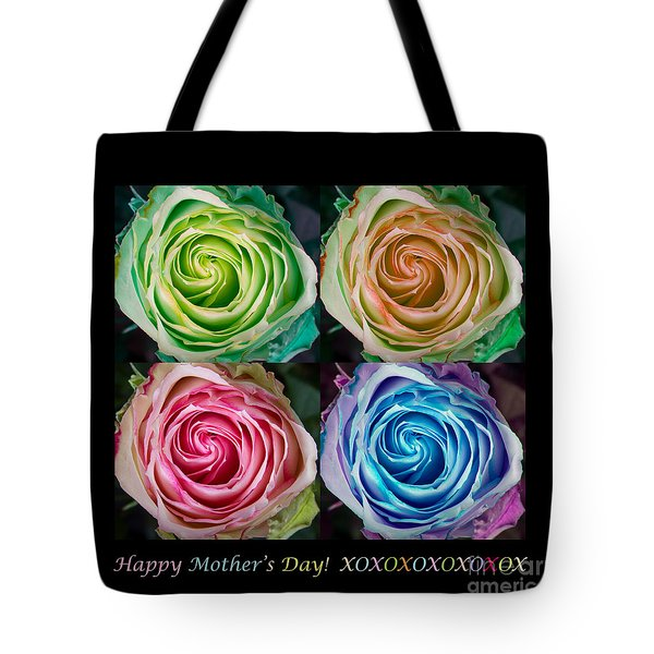 Happy Mothers Day Hugs Kisses And Colorful Rose Spirals Tote Bag by James BO  Insogna