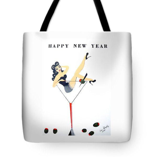 Tote Bag featuring the painting Happy New Year by Nora Shepley