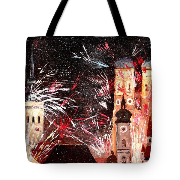 Happy New Year - With Fireworks In Munich Tote Bag by M Bleichner