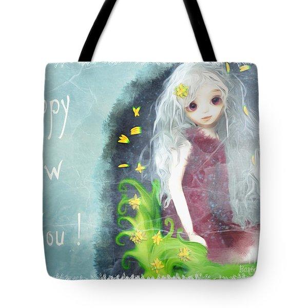 Tote Bag featuring the digital art Happy New You by Barbara Orenya