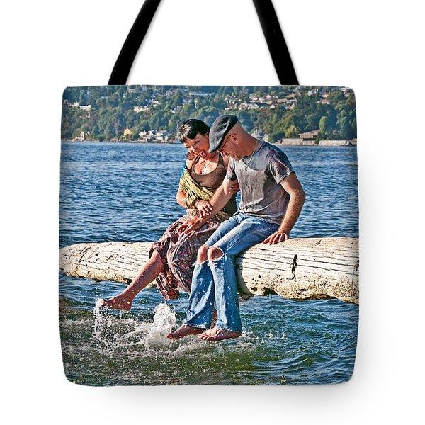 Happy Older Couple Splashing Feet In Water Art Prints Tote Bag