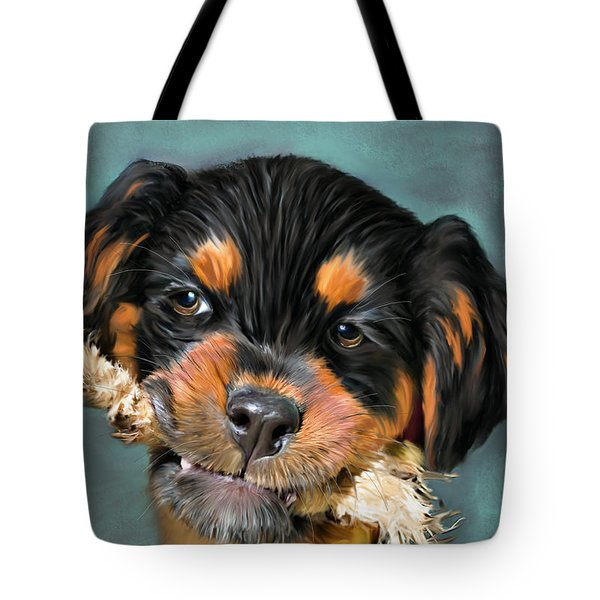 Happy Puppy Tote Bag by Angela A Stanton