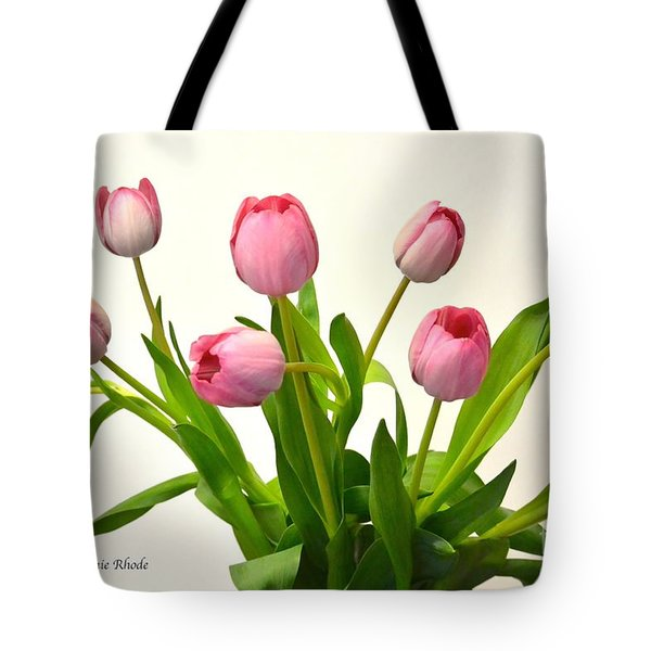 Tote Bag featuring the digital art Happy Spring Pink Tulips 2 by Jeannie Rhode