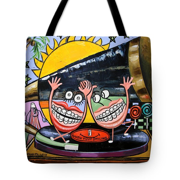 Tote Bag featuring the painting Happy Teeth When Your Smiling by Anthony Falbo