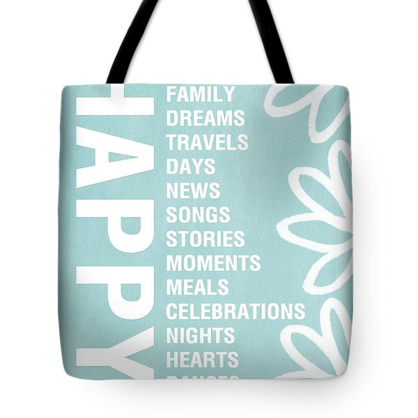 Happy Things Blue Tote Bag by Linda Woods