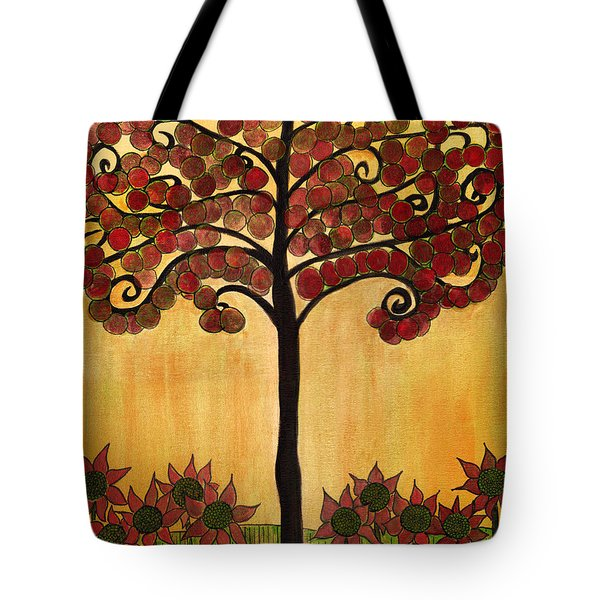 Happy Tree In Red Tote Bag
