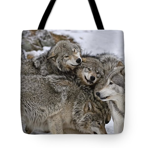 Happy Wolf Pack Tote Bag