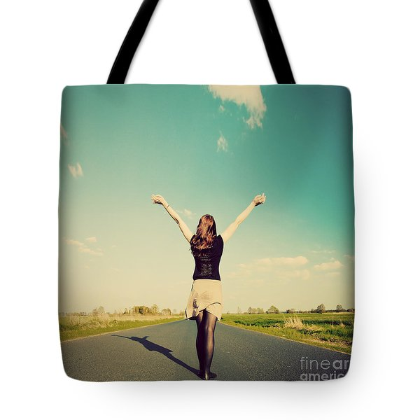 Happy Woman Standing On Empty Road Retro Vintage Style Tote Bag by Michal Bednarek