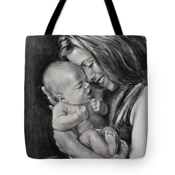 Happy Young Mother Tote Bag by Ylli Haruni