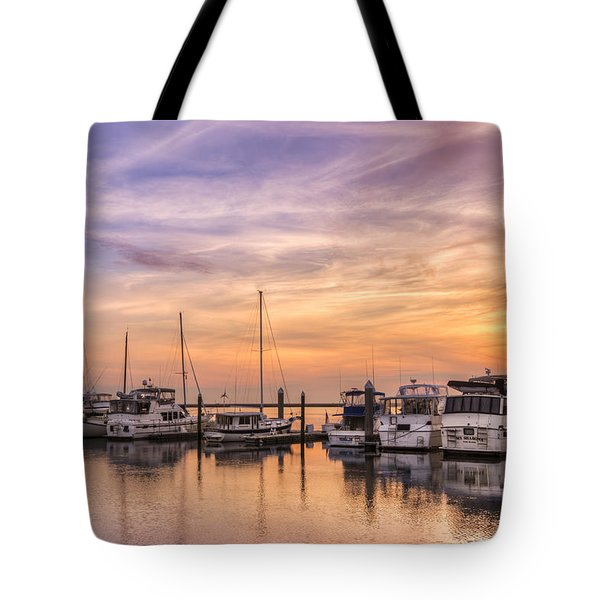 Harbor At Jekyll Island Tote Bag by Debra and Dave Vanderlaan