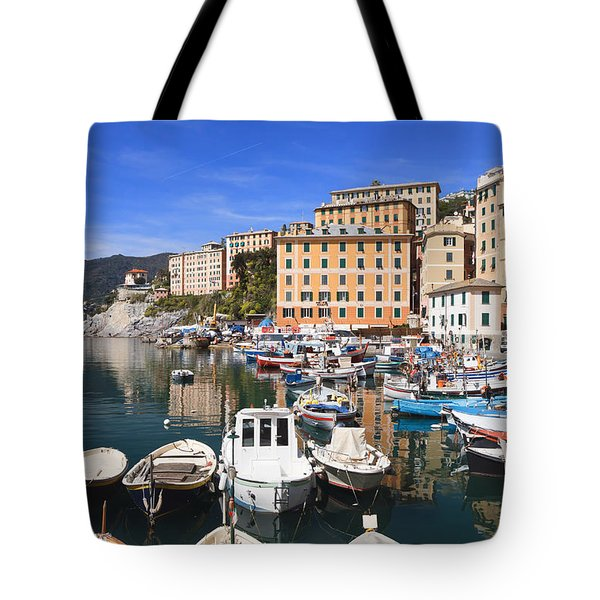 harbor in Camogli - Italy Tote Bag
