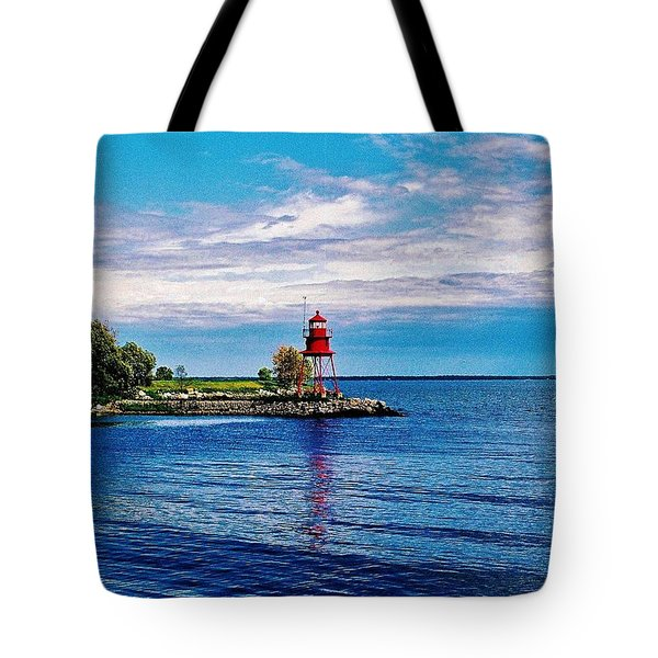 Tote Bag featuring the photograph Harbor Light by Daniel Thompson