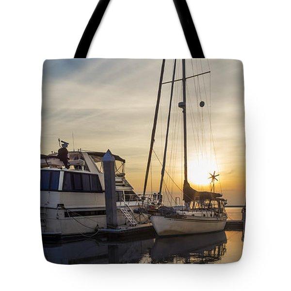 Harbor Light Tote Bag by Debra and Dave Vanderlaan